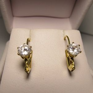 Vintage Jewelry - Vintage 80's CZ Solitaire Gold Tone Earrings
